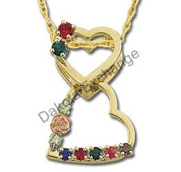 Black Hills Gold 6 Family Birthstone Heart Necklace