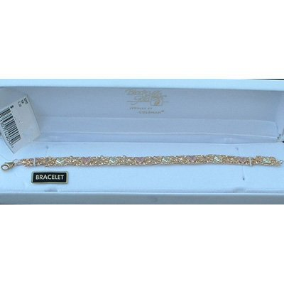 "Black Hills Gold Bracelet 10 Leaves & Beautiful Vines 7 1/2"""