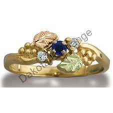Black Hills Gold Diamond And Sapphire Ladies Ring