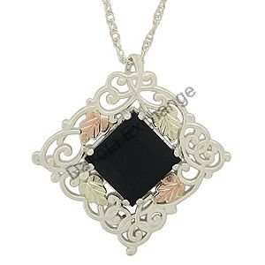Black Hills Gold Necklace Black Onyx Square Gold Filigree Silver