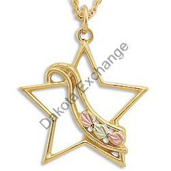 Black Hills Gold Star With Ribbon Pendant Necklace