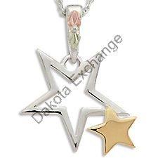 Black Hills Gold 10K Gold Star & Sterling Silver Star Necklace