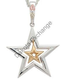 Black Hills Gold 10K Gold Star In Sterling Silver Star Necklace