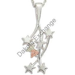 Black Hills Gold Shooting Stars Sterling Silver Pendant Necklace
