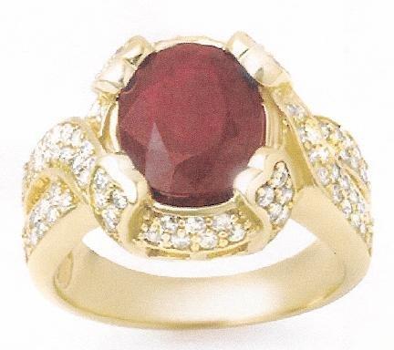ACA Certified 7.00ctw Ruby & Diamond Ring 14K Yellow Gold