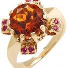 4.82ctw Genuine Rubies & Citrine Ring 14K Yellow Gold