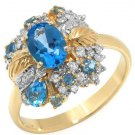 1.50ctw Genuine Diamonds & Topazes 14K Yellow Gold