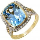 8.30ctw Genuine Diamonds & Topaz 14K Yellow Gold