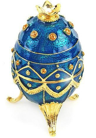 Faberge Style Music Box w/2.52ctw Genuine Pearl, Citrines, and Topazes