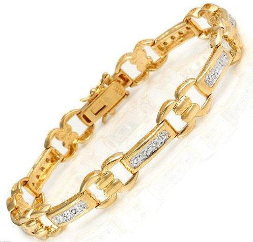 Genuine Diamond Bracelet in 18K Gold & 925 Sterling Silver