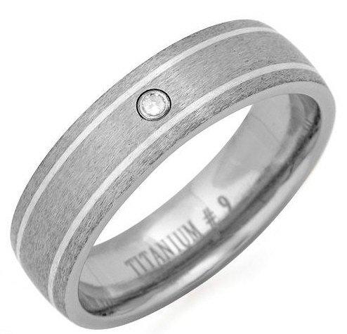 Titanium Gent's Ring with Geniune Diamond