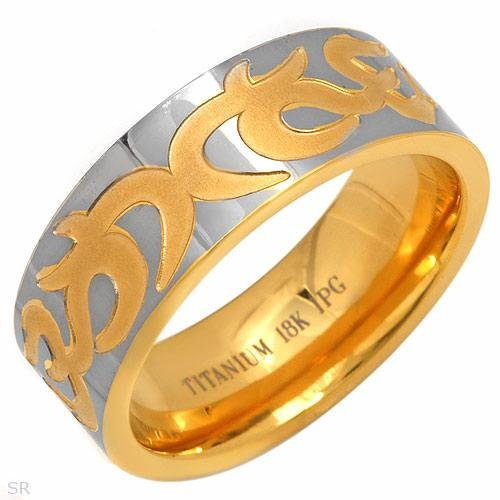 18K Gold Plated Gents Titanium Ring