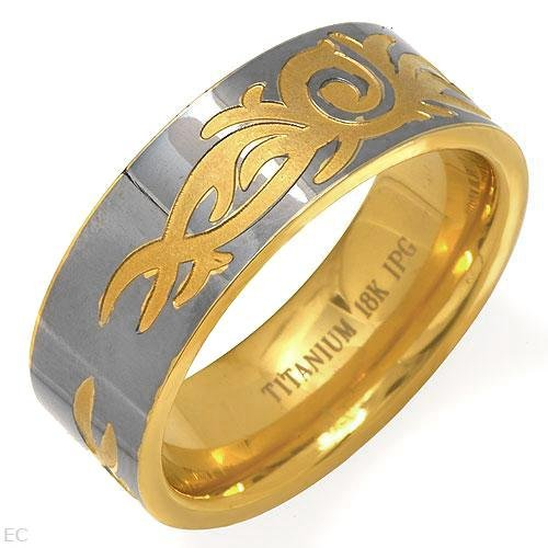 18K Gents Titanium Ring