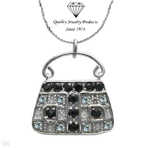 MADE IN ITALY! 2.29ctw Sapphires & Topazes Handbag Necklace
