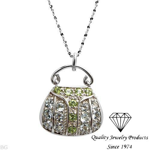 MADE IN ITALY! Elegant Handbag Necklace With 1.93ctw Peridots and Topazes