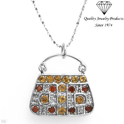 MADE IN ITALY!  Handbag Necklace with 2.01ctw Genuine Citrines & Garnets