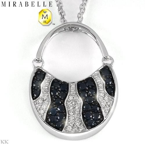 MIRABELLE Handbag Necklace With 1.32ctw Genuine Super Clean Diamonds & Sapphires
