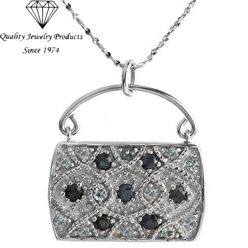 MADE IN ITALY! Handbag Necklace with 2.01ctw Genuine Sapphires & Topazes