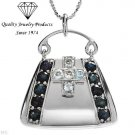 MADE IN ITALY!  Handbag Necklace with 1.90ctw Genuine Sapphires & Topazes