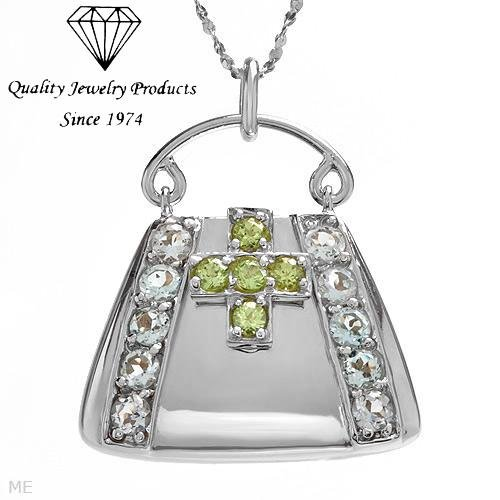 MADE IN ITALY!  Handbag Necklace with 1.55ctw Genuine Peridots & Topazes