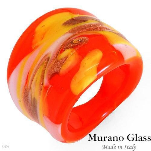 MURANO GLASS MADE IN ITALY! Ring in 24K Three Tone