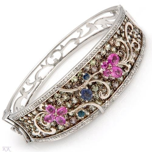 Luxurious Bracelet with 13.73ctw Diamonds and Genuine Sapphires