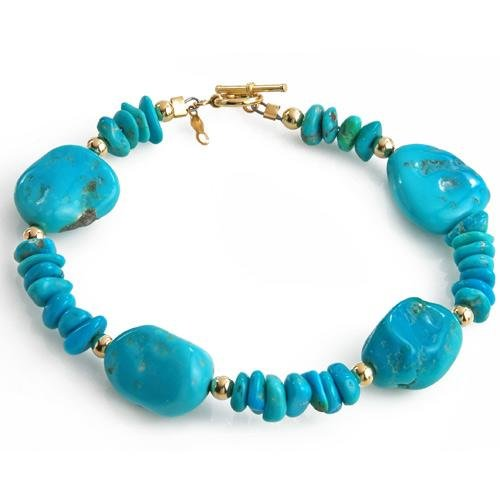 Attractive Bracelet With Genuine Turquoises