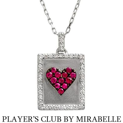"""PLAYER'S CLUB BY MIRABELLE"" 18K Necklace w/Genuine Clean Diamonds & Rubies"
