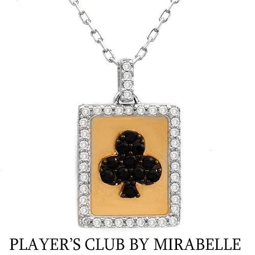 """""""PLAYER'S CLUB BY MIRABELLE"""" 18K Necklace w/Genuine Clean Diamonds & Sapphires"""