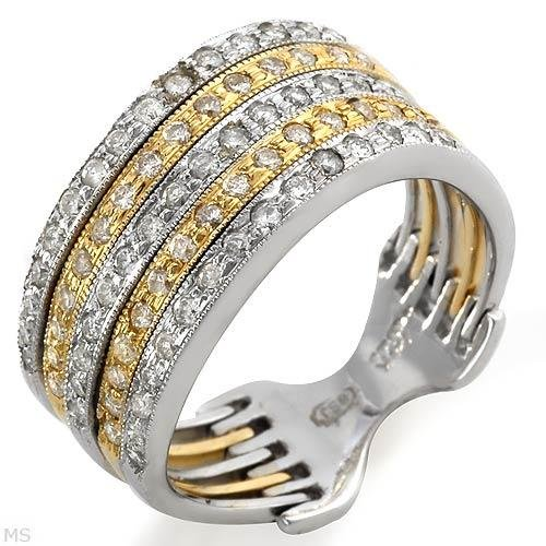 Sensational Ring w/Genuine Diamonds Solid 14K Two Tone Gold