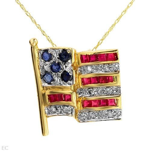 Stunning Necklace With 1.37ctw Genuine Diamonds, Rubies, & Sapphires