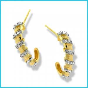 Genuine Diamond Half-Hoop Earrings