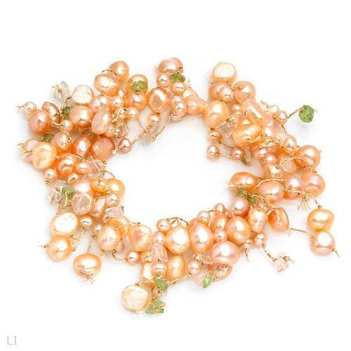 Elegant Bracelet w/Freshwater Pearls, Peridots & Quartz