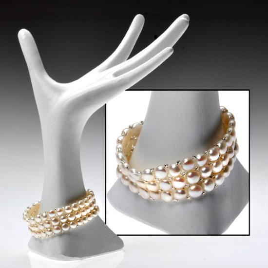 Genuine White Freshwater Pearl 3 Row Bracelet.
