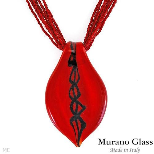 MURANO GLASS MADE IN ITALY! Fashionable Necklace of Red Murano Glass
