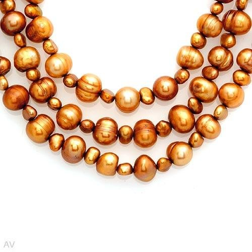 Nice Necklace With 9mm Freshwater Pearls in Solid 14K Yellow Gold