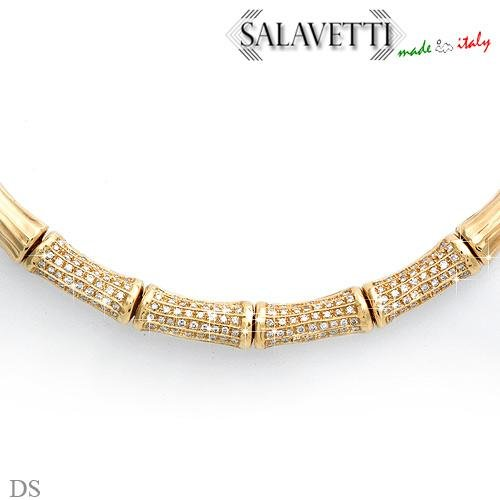 SALAVETTI Elegant Necklace W/4.56ctw Super Clean Diamonds in Solid 18K Yellow Gold - CERTIFIED