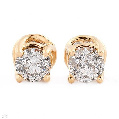 Gorgeous Stud Plus Earrings With 1.50ctw Genuine Diamonds in Solid 14K Yellow Gold