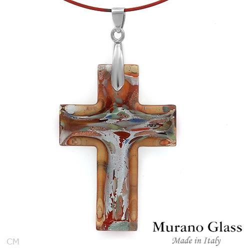 Stylish Cross Necklace Crafted in Solid 18K White Gold, 24K Three Tone Murano Glass