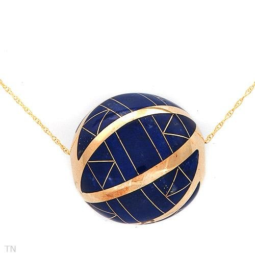 Marvelous Necklace With Genuine Lapis lazulis in 14K Yellow Gold