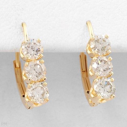 Stunning Three-Stone Earrings With 1.00ctw Genuine Clean Diamonds