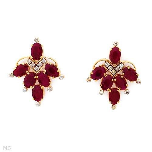 Sensational Earrings With 8.10ctw Genuine Diamonds & Rubies in 18K YG