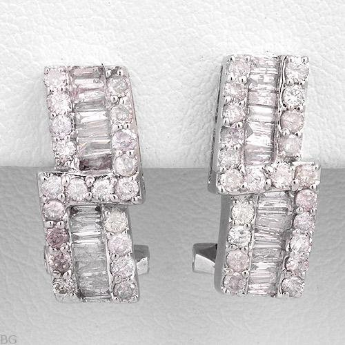 Superb Earrings With 0.96ctw Genuine Diamonds 14K White Gold