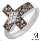 Authentic Mikimoto! Clean VS Diamonds Cross Ring