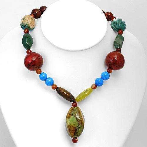 Wonderful Necklace w/Carnelians,Corals,Jades,Turquoises