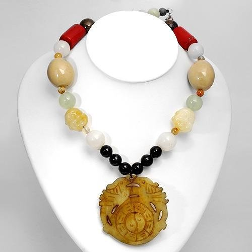 New Necklace with Genuine Agates,Carnelians,Corals