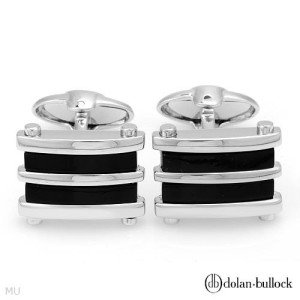 New DOLAN BULLOCK Onyx Cuff Links 925 Sterling Silver