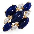 Gorgeous Ring w/Genuine Diamonds Lapis Lazulis