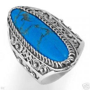 Stylish Ring with Genuine Turquoise