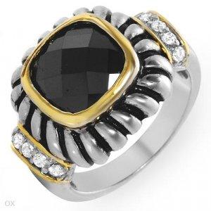 Beautiful Ring with Genuine Onyx & Topazes 14K/925 GP